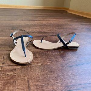 Delman blue Strappy size 6.5M thong slate sandals